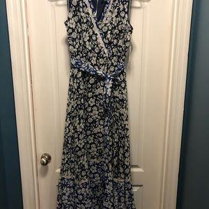Navy and royal blue floral maxi dress